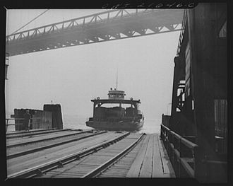 Train ferry - Loaded train ferry approaches dock in Detroit, Michigan, United States in April 1943.