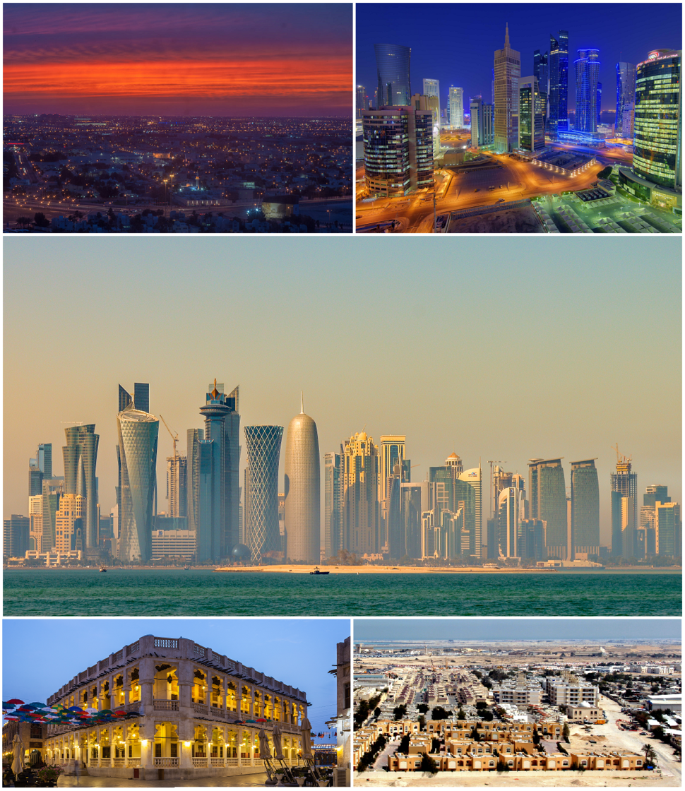 Top to Bottom, Left to Right: Doha skyline at evening from Ezdan Hotel, Modern buildings in West Bay district, Doha skyline in the morning, Souq Waqif, suburbs of Umm Ghuwailina.