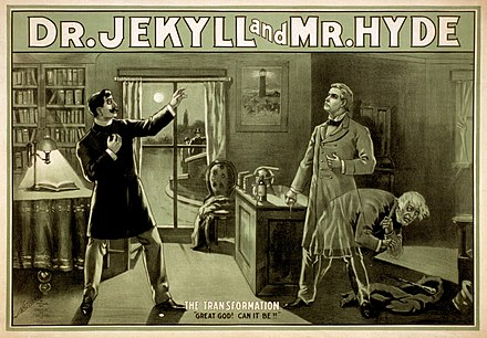 Robert Louis Stevenson's Strange Case of Dr Jekyll and Mr Hyde (1886) was a classic Gothic work of the 1880s, seeing many stage adaptations. Dr Jekyll and Mr Hyde poster edit2.jpg