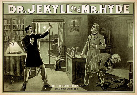 Poster for a theatrical adaptation of 'Strange Case of Dr Jekyll and Mr Hyde'
