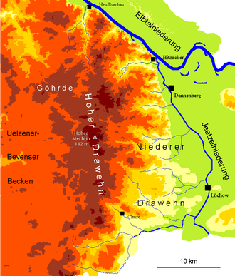 Lüchow - Map of the surrounding Drawehn landscape.