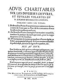 Du Breuil - Advis charitables sur les diverses œuvres, et feuilles volantes du sr. Girard Desargues, 1642 - 61099.jpg