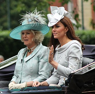 Picture hat - Camilla, Duchess of Cornwall wearing a Philip Treacy picture hat, while Catherine, Duchess of Cambridge sports a hatinator