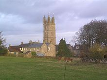 Yellow stone church tower above other buildings of the same stone. In the foreground is a grassy field with cows