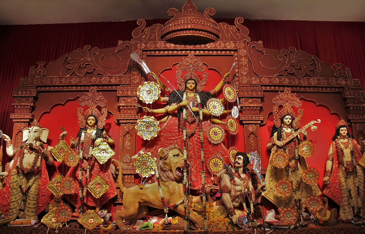 Image result for Durga Puja celebrated, Adding an element of colour and cultural diversity t