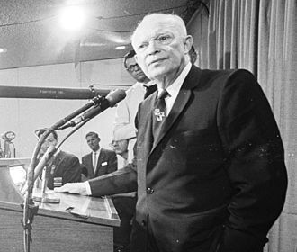 Eisenhower speaks to the press at the 1964 Republican National Convention Dwight Eisenhower at 1964 RNC (cropped1).jpg