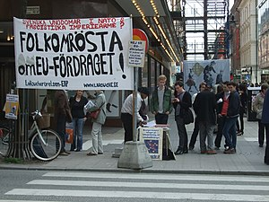 European Workers Party - LaRouche supporters in Stockholm protesting the Treaty of Lisbon.
