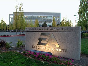 Welcome sign at EA headquarters in Redwood Shores