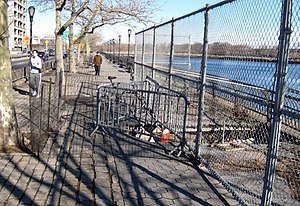 East River Greenway - A section in East Harlem with a pothole