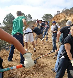 Empowering Spirits Foundation - ESF volunteers build a new trail in the Gonzalez Canyon in San Diego, California.