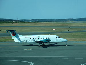 Exploits Valley Air Services - EVAS Beechcraft B1900 at St. John's International Airport, in Air Canada Express livery