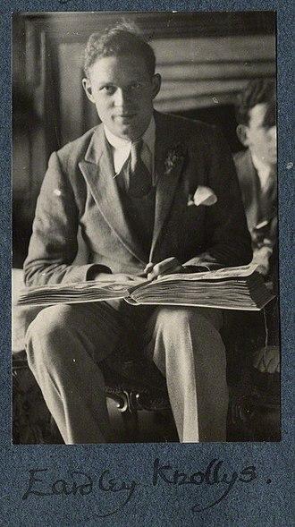 Eardley Knollys - Eardley Knollys by Lady Ottoline Morrell, vintage snapshot print, late 1924