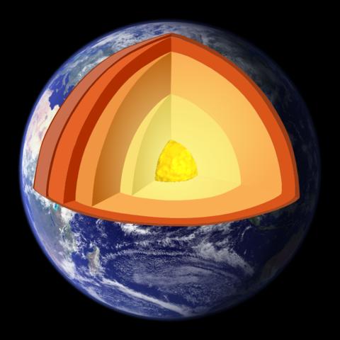 Polomer Zeme je 6378 km (jadro 3470 km, plášť 2870 km, kôra 12 - 60 km)