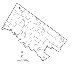 Location of East Greenville in Montgomery County, Pennsylvania.