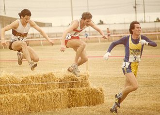 Ed Eyestone - Eyestone (in the middle) at the 1983 USA Cross Country Championships