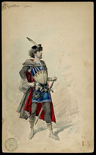 Il trovatore - Alfredo Edel Colorno's sketch of Manrico's costume for a production at La Scala in 1883