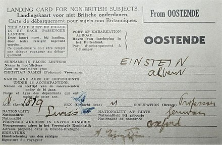 Albert Einstein's landing card (26 May 1933), when he landed in Dover (United Kingdom) from Ostende (Belgium) to visit Oxford. Einstein's landing card (5706142737).jpg