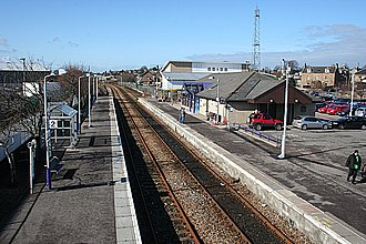 Elgin railway station - Elgin railway station, looking towards Inverness