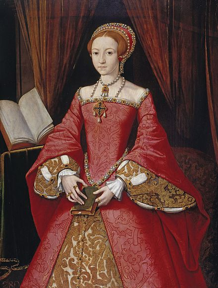 A rare portrait of Elizabeth prior to her accession, attributed to William Scrots. It was painted for her father in c. 1546. El bieta I lat 13.jpg