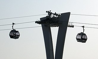 Emirates Air Line (cable car) - Two gondolas approaching the north intermediate tower