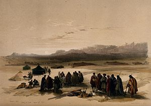 Mount Seir - Image: Encampment in the desert, with Mount Seir in the distance, W Wellcome V0049424