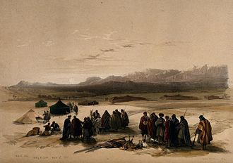 Mount Seir - Desert Camp, with Mt. Seir in the distance, 1849