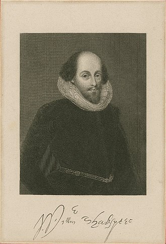 Ashbourne portrait - 19th-century print based on the Ashbourne portrait, when the sitter was presumed to be William Shakespeare