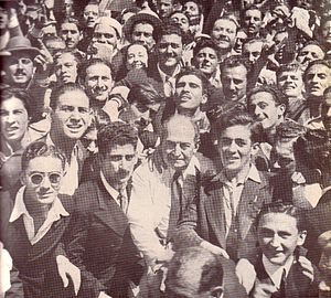 Enrique Mosca - Enrique Mosca (elder man, center) in a UCR rally during the 1945-46 campaign against Juan Perón.