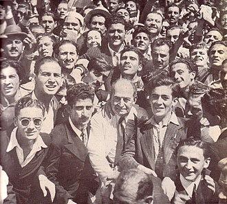Enrique Mosca - Enrique Mosca (elder man, center) in a UCR rally during the 1945-46 campaign against Juan Perón.