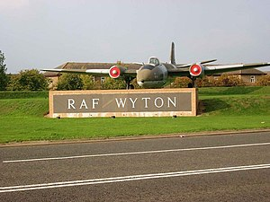 RAF Wyton - Gate guardian Canberra PR9 XH170 at RAF Wyton.