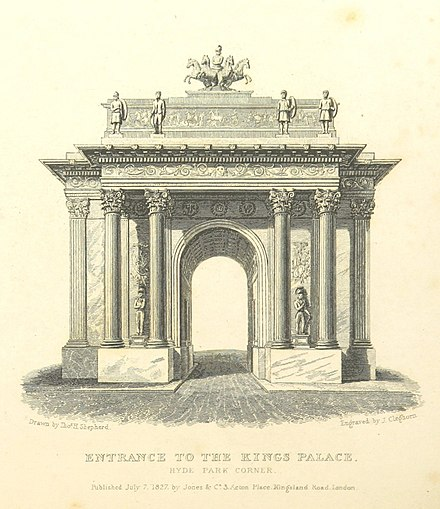 1827 engraving showing the full ornamentation originally intended for the arch, including reliefs and statues. The engraving, from Shepherd's Metropolitan Improvements, was published while the arch was still under construction. Entrance to the King's Palace, Hyde Park Corner - Shepherd, Metropolitan Improvements (1828), p326.jpg