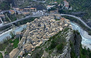 Var (river) - Rooftops of Entrevaux and the gorge of the Var