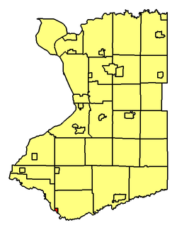 Location of village within Erie County