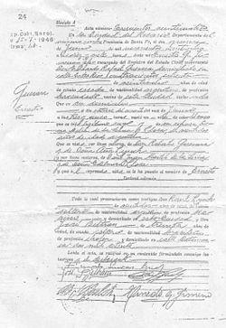 Acta de nacimiento de Ernesto Guevara