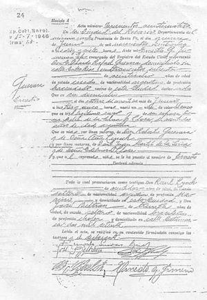 Ernesto Guevara Acta de Nacimiento