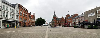 Esbjerg - Esbjerg Main Square with the old courthouse (now used by the tourist office) and statue of King Christian IX directly ahead