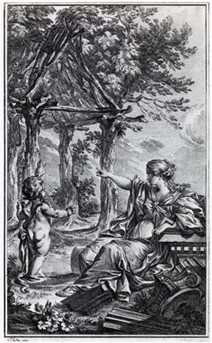 Charles-Dominique-Joseph Eisen - Frontispiece of Essai sur l'Architecture by Marc-Antoine Laugier from 1755, showing and allegorical image of the Vitruvian primitive hut