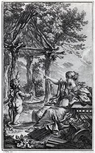 Architectural theory - Frontispiece of Marc-Antoine Laugier: Essai sur l'Architecture 2nd ed. 1755 by Charles Eisen (1720-1778). Allegorical engraving of the Vitruvian primitive hut.