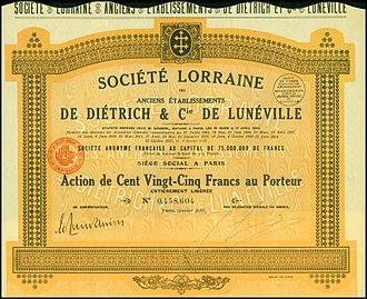 Lorraine-Dietrich - Share of the Société Lorraine des Anciens Établissements De Dietrich et Cie, issued January 1928