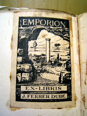 Bookplate - Bookplate depicting ancient city of Emporion or Empúries, in Catalonia, Spain