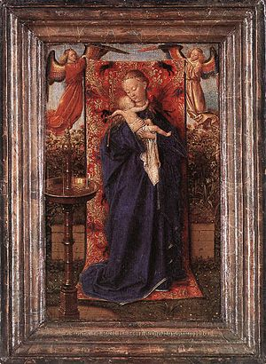 Virgin and Child with Four Angels - Madonna at the Fountain. Jan van Eyck, c. 1439. Royal Museum of Fine Arts, Antwerp. The cloth of honour held by the angels in the van Eyck is replaced by David with a golden crown.