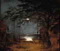 F. M. E. Fabritius de Tengnagel - Havneparti med skibe i måneskin.png