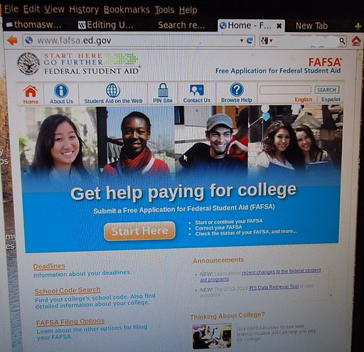 FAFSA screenshot using camera