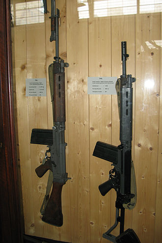 Carbine - FN FAL rifle - (left) full size, (right) carbine/paratrooper variant with a folding stock and shortened barrel