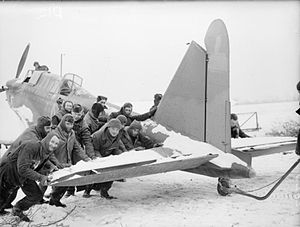 Fairey Battle - Ground crew pushing a Battle on the ground