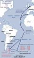 Falklands, Campaign, (Distances to bases) 1982 (es).png