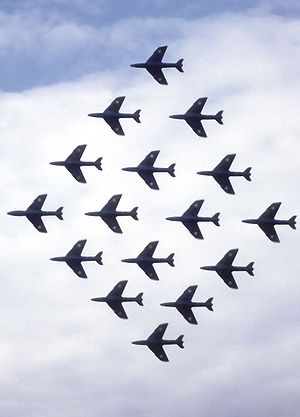 Hawker Hunter - RAF Hunters of the Black Arrows performing aerobatics at Farnborough Airshow, 1960