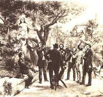 Félibrige - Meeting of the Félibrige in 1854: Frédéric Mistral, Joseph Roumanille, Théodore Aubanel, Jean Brunet, Paul Giéra, Anselme Mathieu, Alphonse Tavan