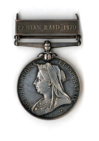 Orders, decorations, and medals of Canada - A medal awarded for participation in repelling the Fenian raids, presented by Queen Victoria in 1899