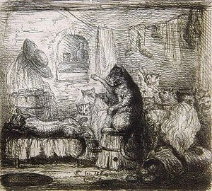 The Life and Opinions of the Tomcat Murr - Tomcat Murr's death, 1864 etching by Ferdinand II of Portugal